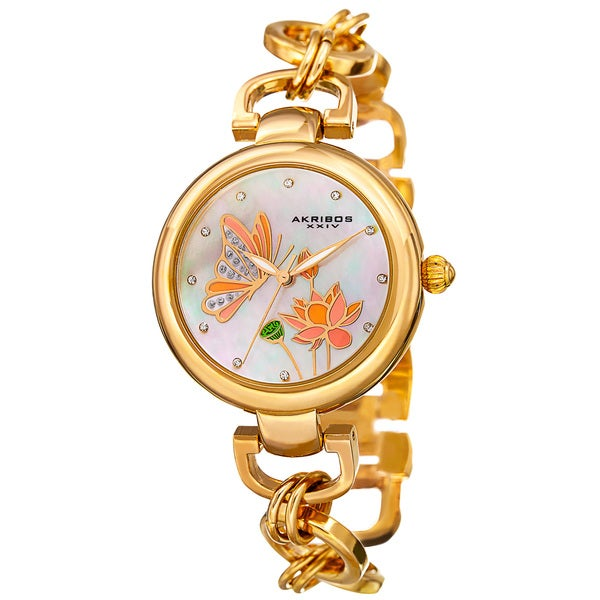 Akribos XXIV Women's Quartz Swarovski Crystal Chain Style Gold-Tone Bracelet Watch