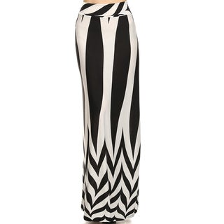 MOA Collection Women's Geometric Black-and-White Maxi Skirt