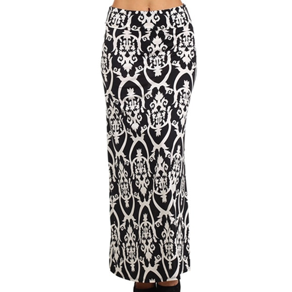 MOA Collection Women's Black Damask Print Maxi Skirt