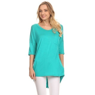 MOA Collection Women's Rayon/Spandex Button-trimmed Back Tunic