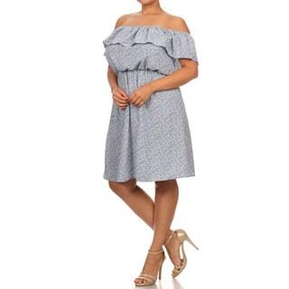 MOA Collection Blue Plus Size Floral Denim Dress