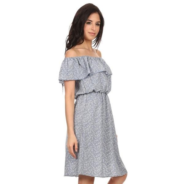 MOA Collection Women's Blue Floral Denim Dress