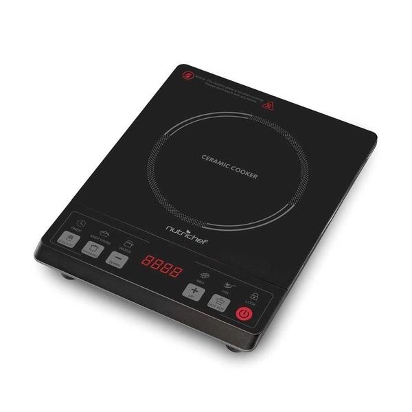 NutriChef PKST14 Ceramic Induction Cooktop Black Electric Countertop Glass Burner Cooker