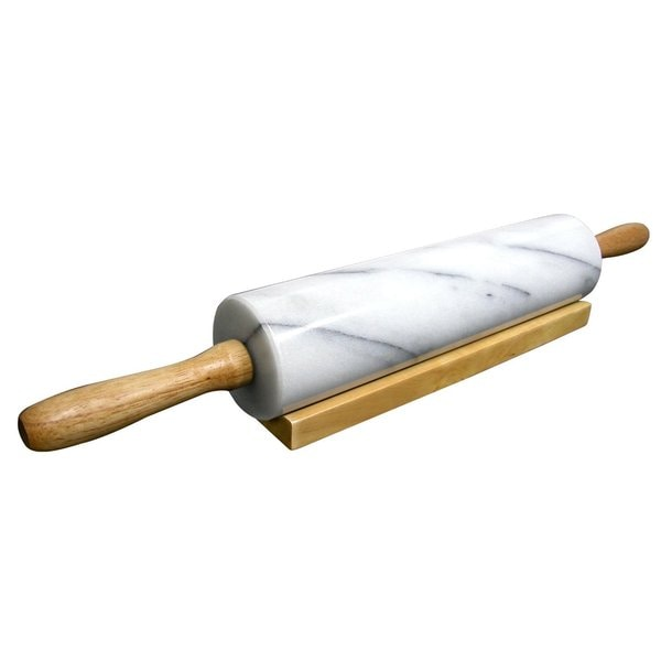 Cook N Home White Marble 18-inch Rolling Pin with Wood Base