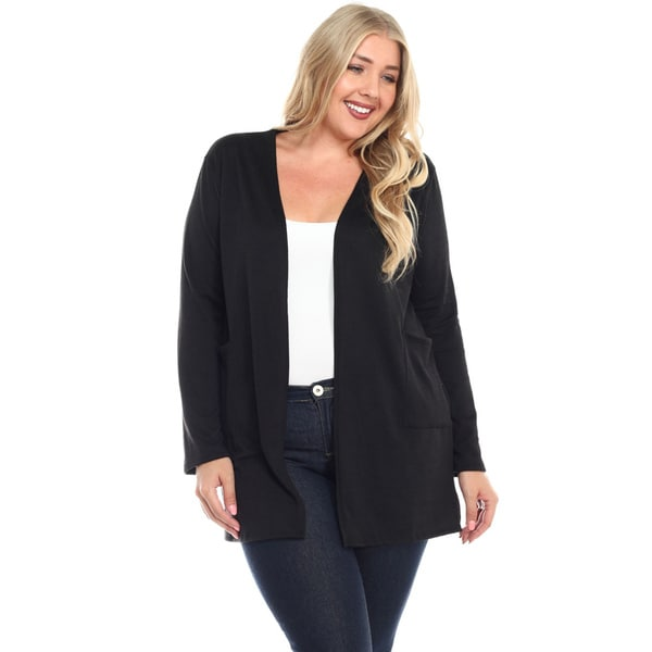 Haute Apparel Women's Plus Size Open Pocket Cardigan