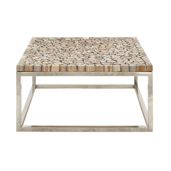 Teak With Stainless Steel Base Coffee Table