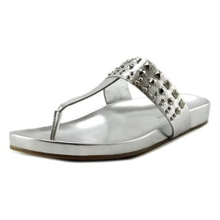 Marc Fisher Women's Samba Silver Leather Flip-Flop Sandals