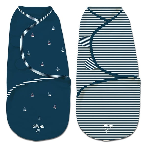 Little Me Navy Sailboats Pack of 2 Swaddles