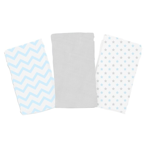 Summer Infant SwaddleMe Blue Star Chevron Premium Muslin Blankets (Pack of 3)