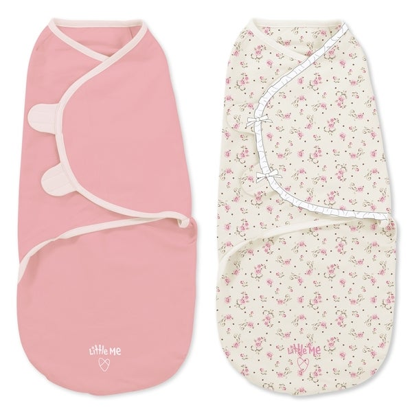 Little Me Vintage Rose 2-Pack Swaddle Wrapsack