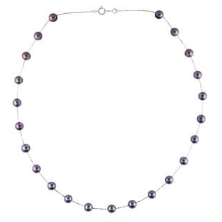 Ion-plated 14k White Gold/Black Freshwater Pearl Necklace