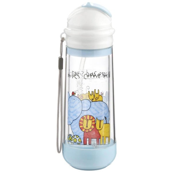 Drinkadeux Glass Blue Plastic Double-wall Insulated Sky/Zoo Bottle 18916784