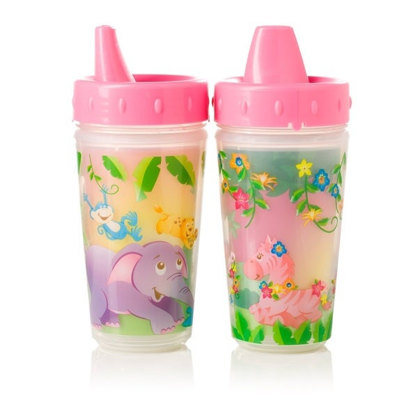 Evenflo Zoo Friends Pink 10-ounce Insulated Sippy Cups (Set of 2) 18916787
