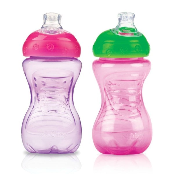Nuby Super Spout Pink/Purple 10-ounce Easy Gripper Cup (Pack of 2)
