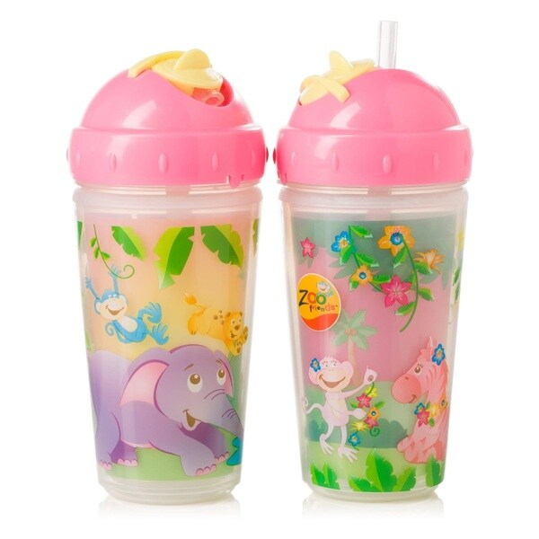 Evenflo Zoo Friends Pink Plastic 10-ounce BPA Free 2-Pack Insulated Straw Cups 18916815