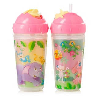 Evenflo Zoo Friends Pink Plastic 10-ounce BPA Free 2-Pack Insulated Straw Cups