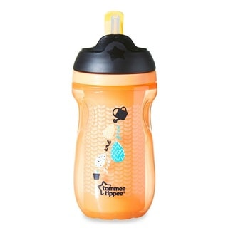 Tommee Tippee Orange Plastic 9-ounce Insulated Straw Tumbler