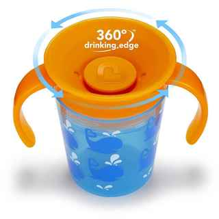 Munchkin Miracle Cup Blue Plastice 6-ounce Whale Deco Trainer