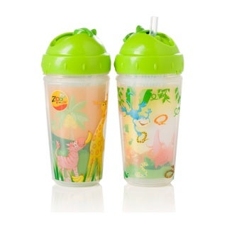 Evenflo Zoo Friends Green 10-ounce Insulated Straw Cups (Set of 2)