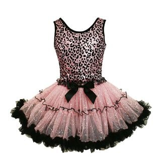 Popatu Girl's Pink and Black Cotton, Polyester, and Spandex Leopard Print Ruffle Petticoat Dress