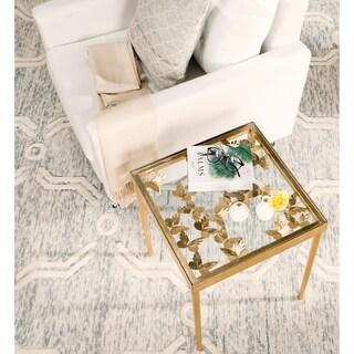 Safavieh Rosalie Antique Gold Leaf Side Table
