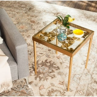 Safavieh Otto Antique Gold Leaf Side Table