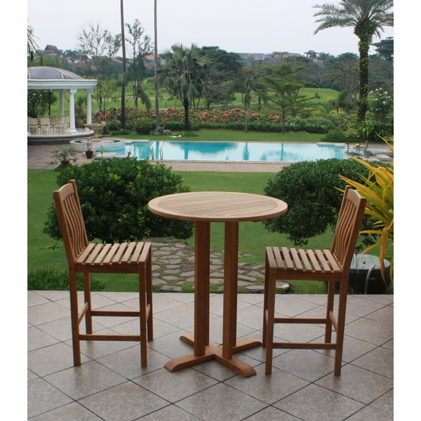 Sherwood Teak Bar Height Bistro Set (Set of 3)