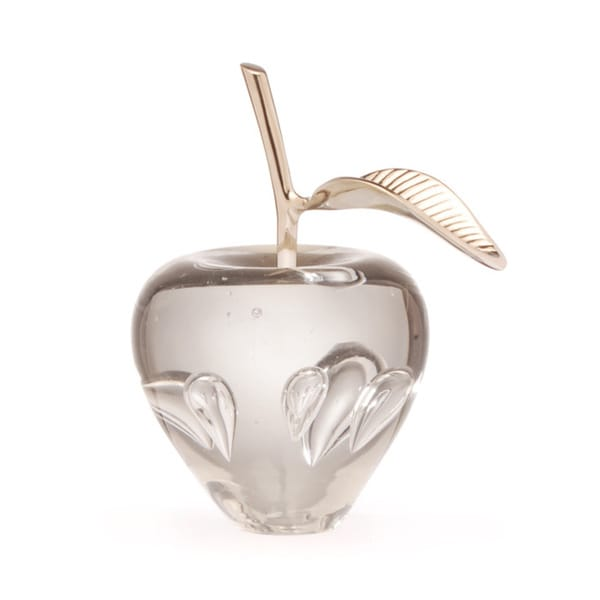 Hip Vintage Silver Stem Apple Clear Glass Accent Jar