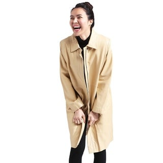 Women's Beige Leather Trench Coat With Zipout Liner