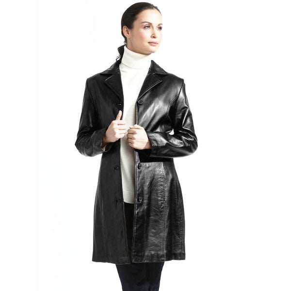 Women's Black/Tan Leather Walking Coat With Zip-out Liner