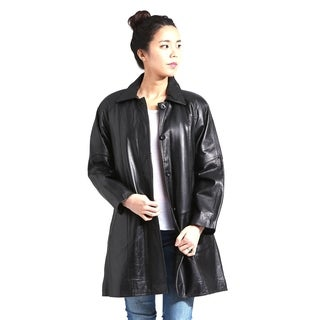 Women's Leather Black Lambskin Button-up Swing Coat with Zipout Liner