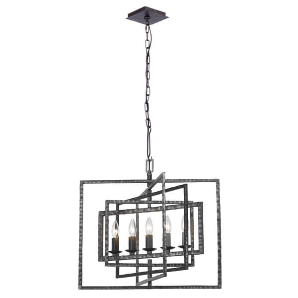 Crystorama Capri Collection Raw Grey Steel 5-light Chandelier