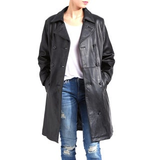 Women's Black Cowhide Leather Trench Coat
