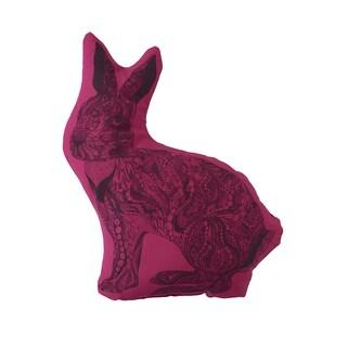 Bohemian Pink Polyester Bunny-shaped Decorative Pillow