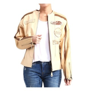 Women's Leather Moto Racing Jacket with Patches