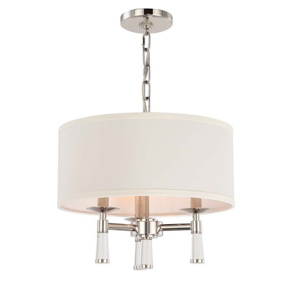 Crystorama Baxter Collection Polished Nickel 3-light Convertible Pendant