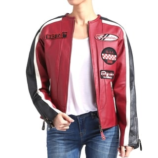 Women's Cream, Red, and Black Leather Moto Patch Racing Jacket