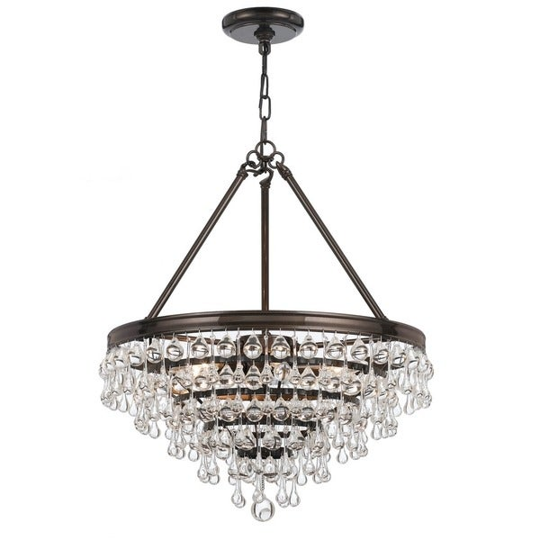 Crystorama Calypso Collection 6-Light Vibrant Bronze Chandelier 18918538