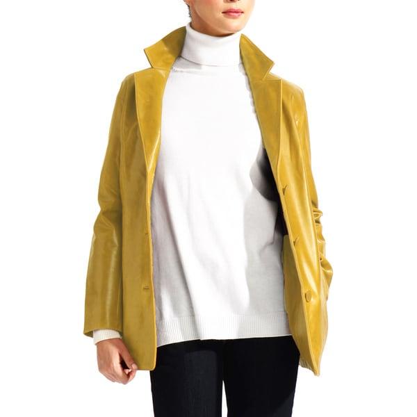 Women's Tan Leather Blazer Jacket