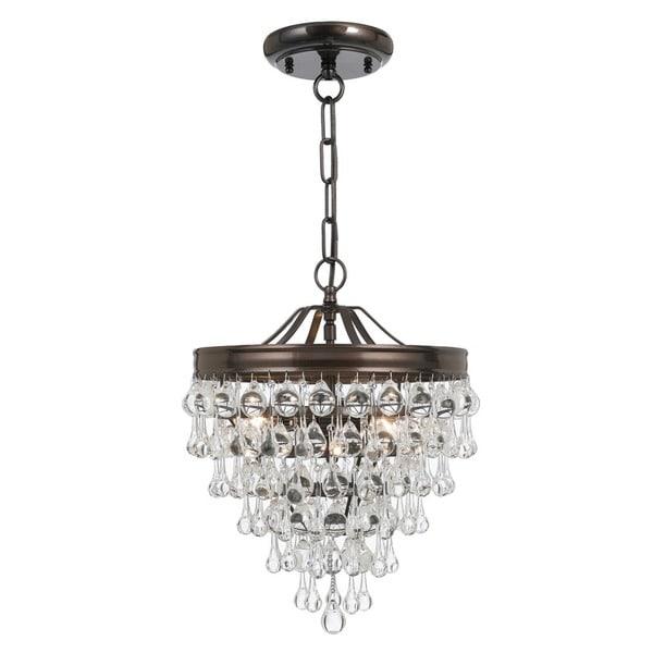 Crystorama Calypso Collection Vibrant Bronze 3-light Pendant Lamp 18918563