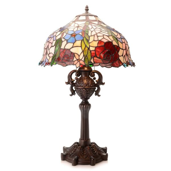 Warehouse of Tiffany Aussie 27-inch 2-light Tiffany-style Rose Stained Glass Table Lamp