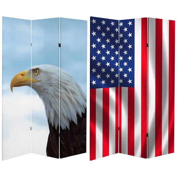 Double Sided Spirit of America 6-foot Tall Canvas Room Divider 18919111