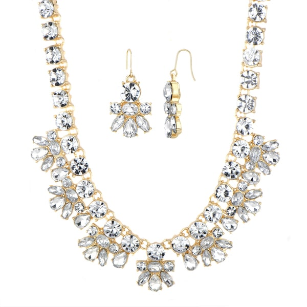 Brass Goldtone Rhinestone Statement Necklace Set