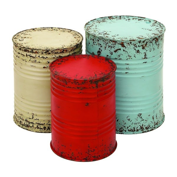 Accent Collection Blue/Off-white/Red Metal Drum Tables (Set of 3) 18919260