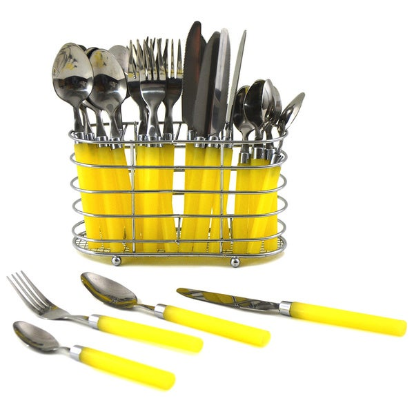 Nature Home Decor Rainbow Elite Collection Yellow PVC 24-piece Flatware Set with Rectangle Caddy 18919282