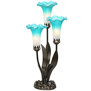 Handpainted Teal and White Glass 3-lily Uplight Accent Lamp