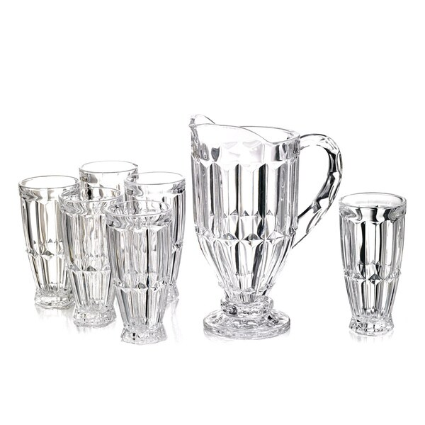 Fifth Avenue Crystal Gabriella Clear Crystal 7-piece Pitcher and Highball Beverage Set