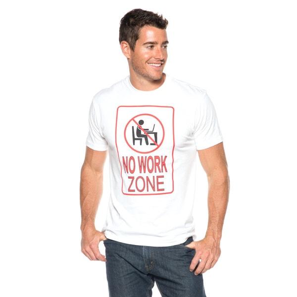 Men's No Work Zone White Cotton T-shirt
