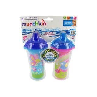 Munchkin Click Lock Butterfly and Birds 2-pack 9-ounce Insulated Sippy Cups