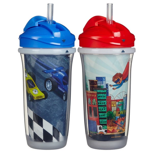 Playtex Blue Cars/Red Hero 9-ounce Insulator Straw Cups (Pack of 2) 18920780